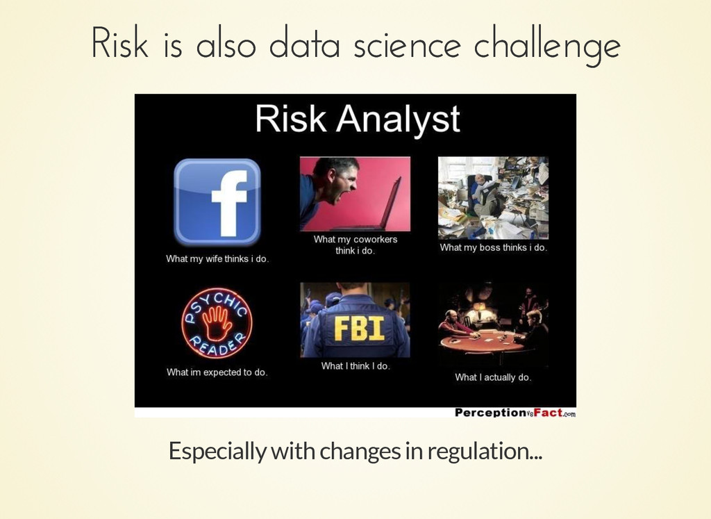 Especially with changes in regulation... Risk i...