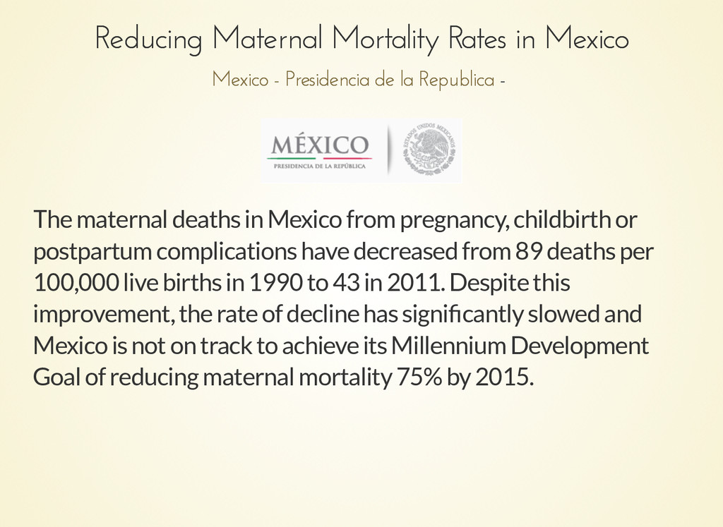 Reducing Maternal Mortality Rates in Mexico Red...