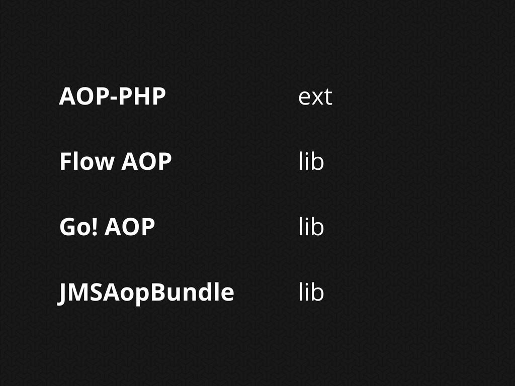 AOP-PHP Flow AOP Go! AOP JMSAopBundle ext lib l...