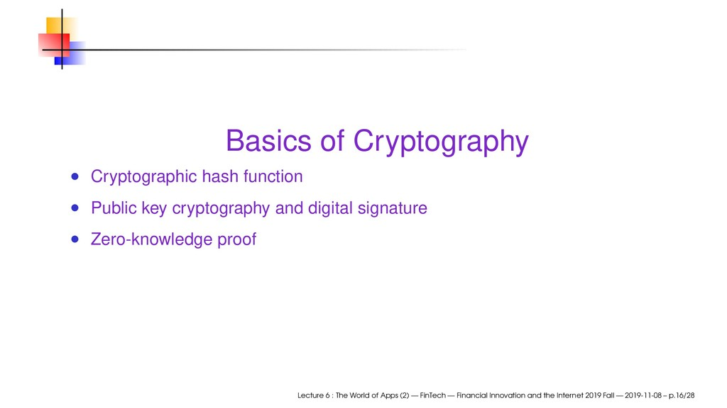 Basics of Cryptography Cryptographic hash funct...