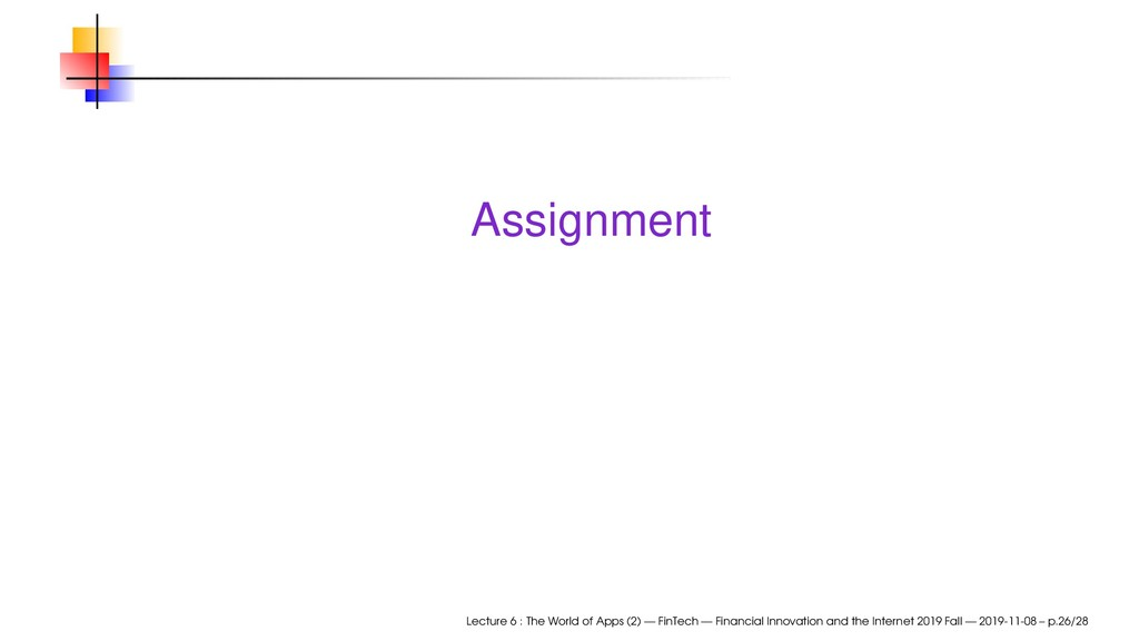 Assignment Lecture 6 : The World of Apps (2) — ...