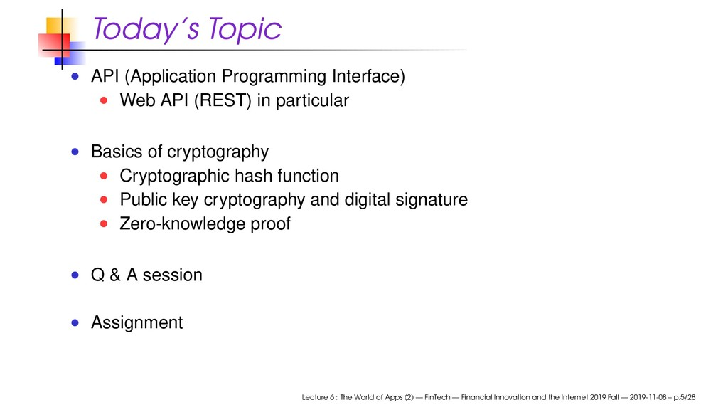 Today's Topic API (Application Programming Inte...