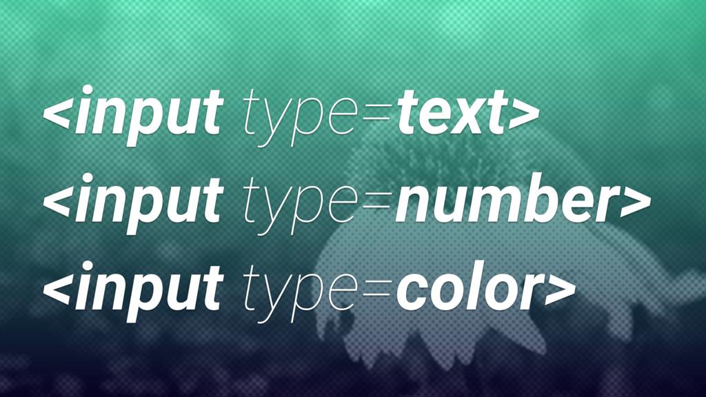 <input type=text> <input type=number> <input ty...