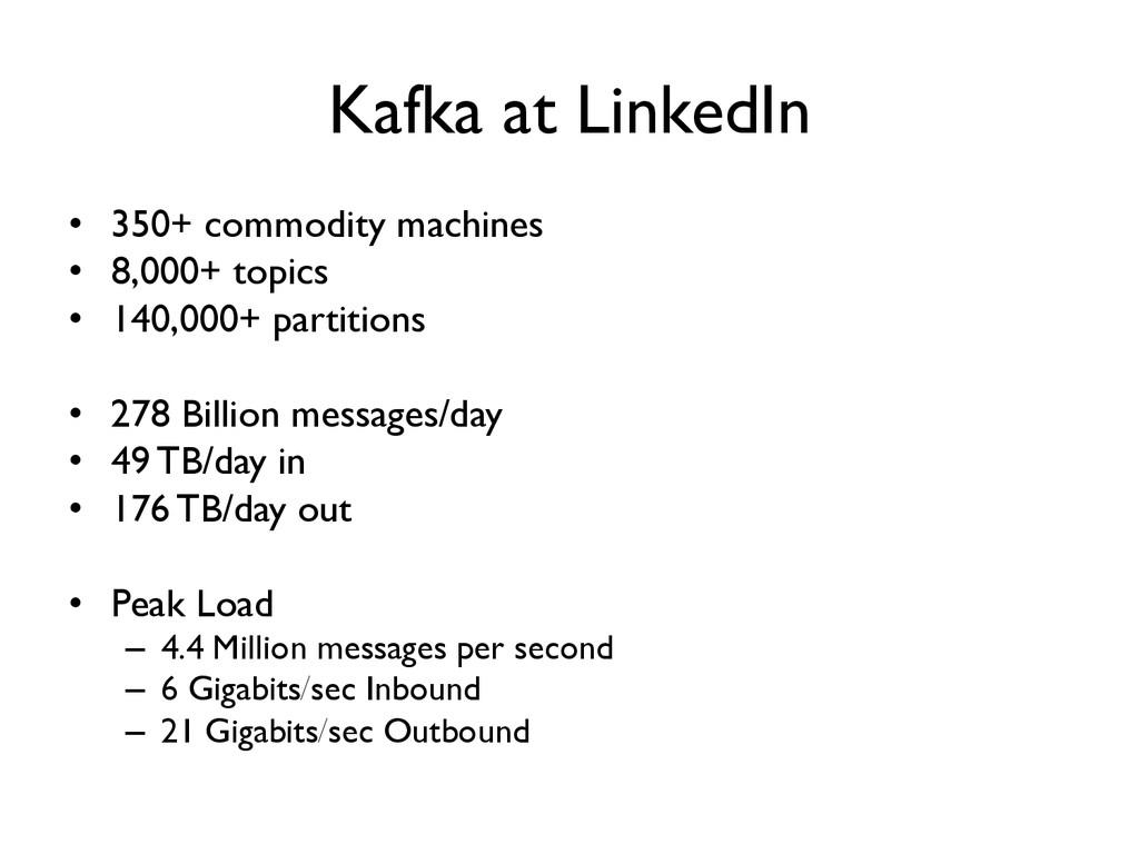 Kafka at LinkedIn  • 350+ commodity machines...