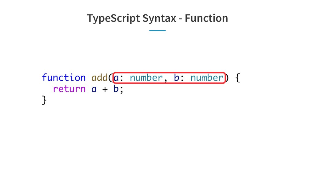 TypeScript Syntax - Function function add(a: nu...