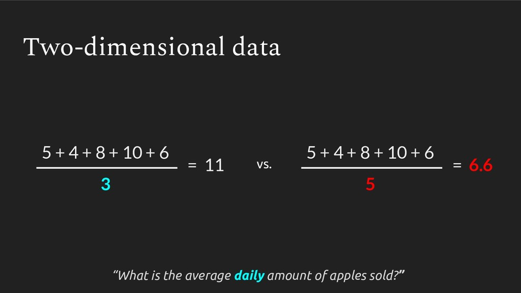 Two-dimensional data 5 + 4 + 8 + 10 + 6 5 = 6.6...