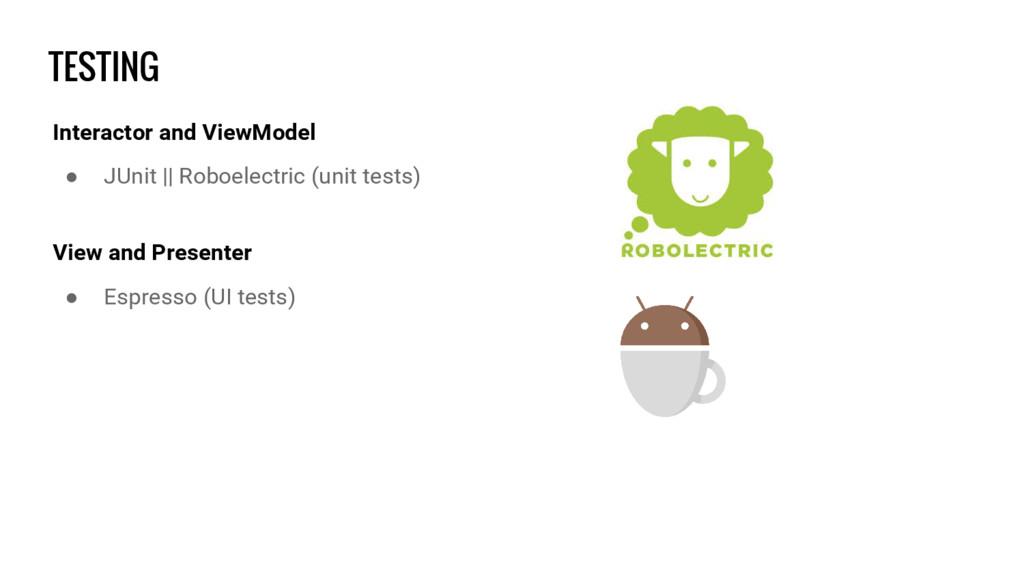 TESTING Interactor and ViewModel ● JUnit || Rob...