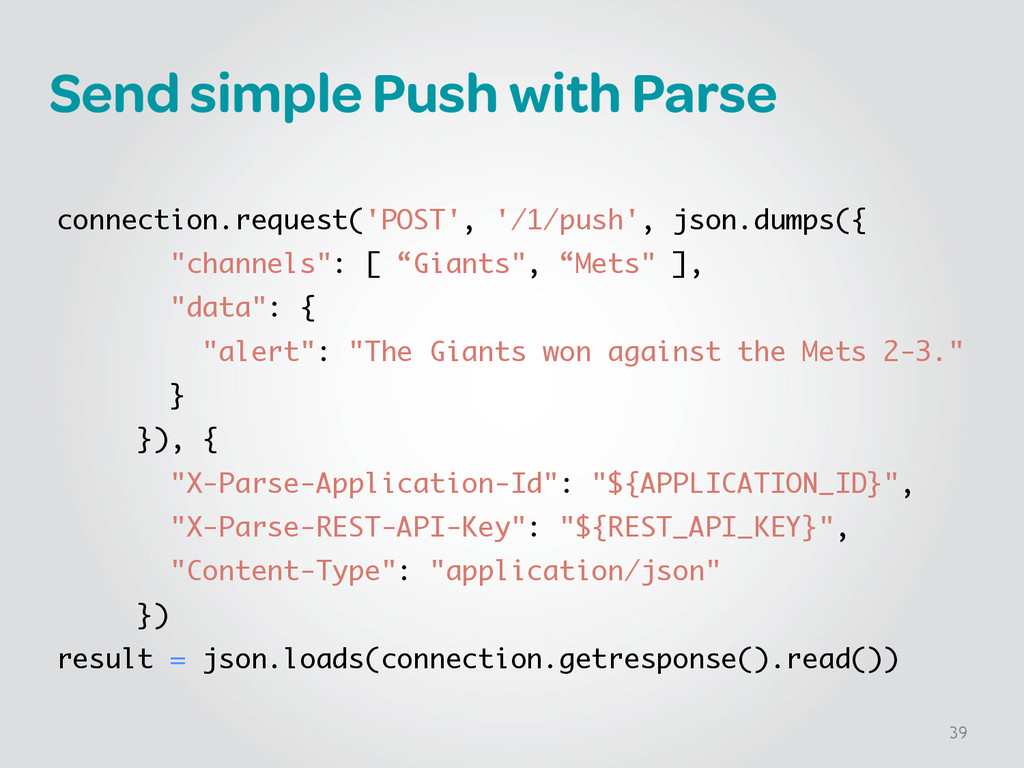 Send simple Push with Parse ! connection.reques...