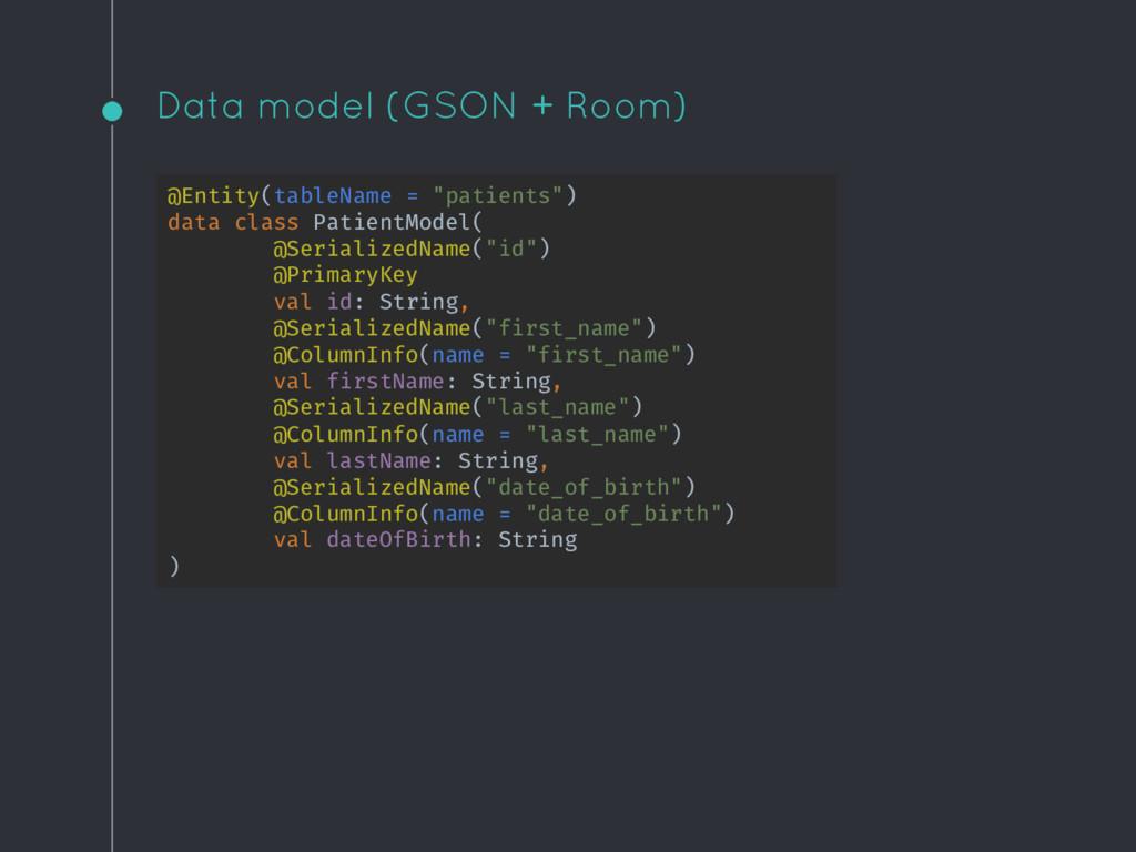 "Data model (GSON + Room) @Entity(tableName = ""p..."