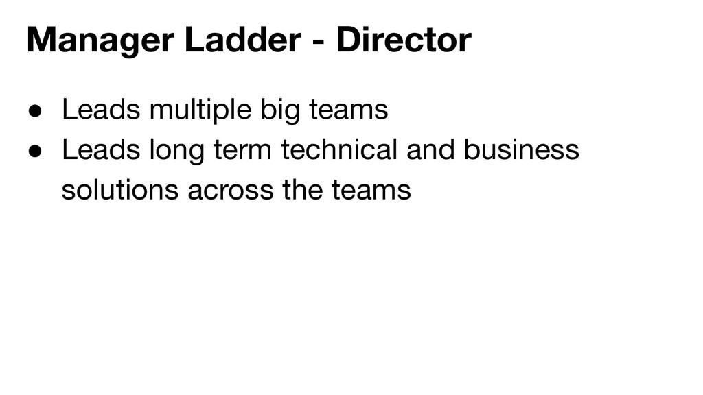 ● Leads multiple big teams ● Leads long term te...
