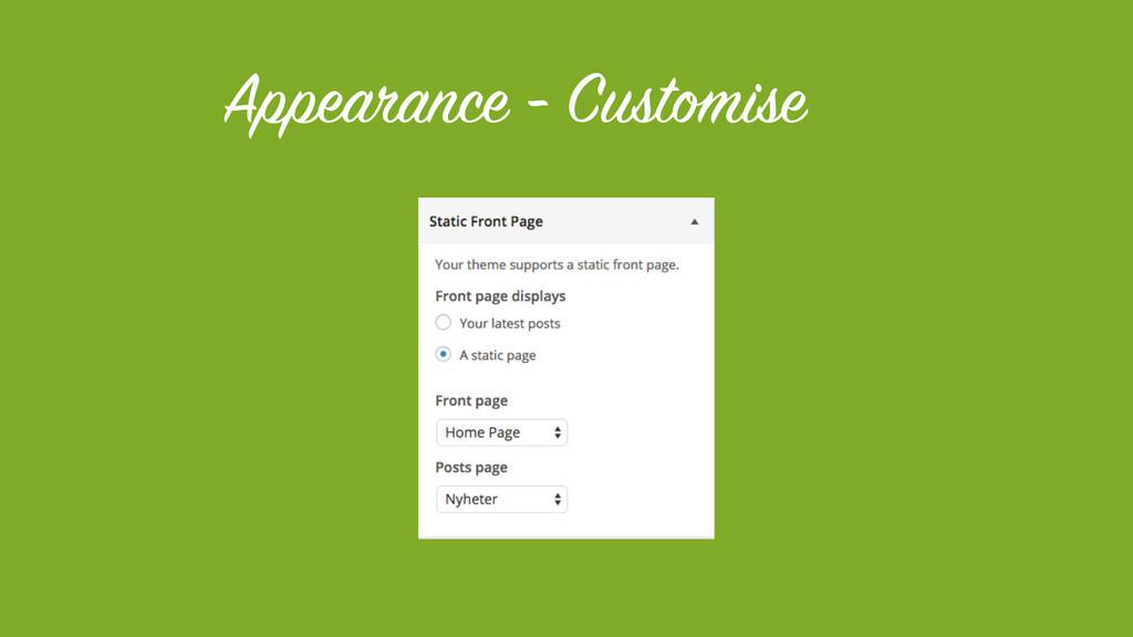Appearance - Customise