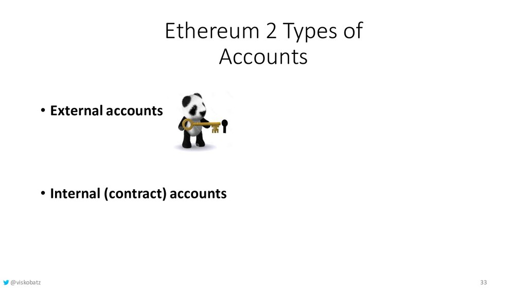 Ethereum 2 Types of Accounts • External account...