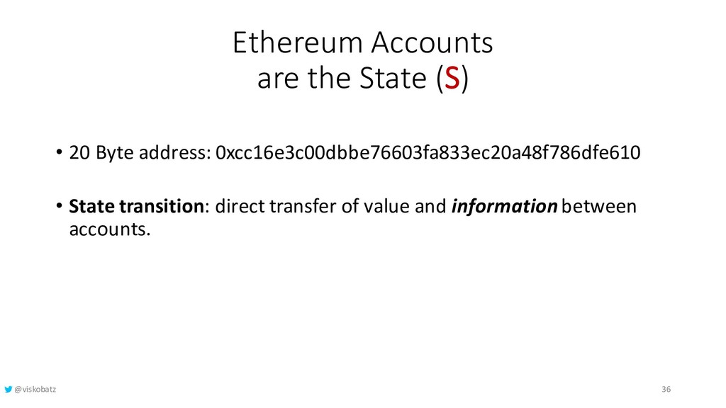 Ethereum Accounts are the State (S) • 20 Byte a...