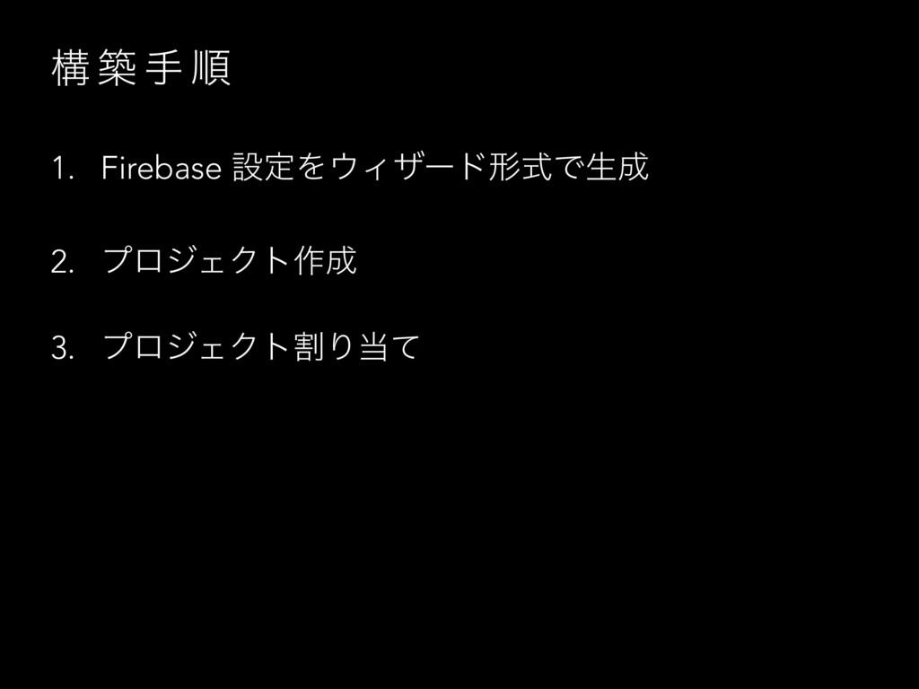 ߏ ங ख ॱ 1. Firebase ઃఆΛΟβʔυܗࣜͰੜ 2. ϓϩδΣΫτ࡞ 3...