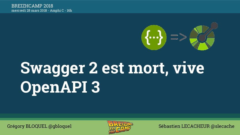 Swagger 2 est mort, vive OpenAPI 3 Grégory BLOQ...