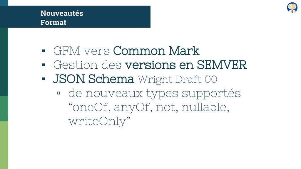 Nouveautés Format ▪ GFM vers Common Mark ▪ Gest...