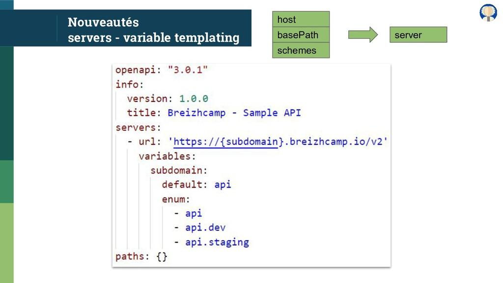 Nouveautés servers - variable templating host b...