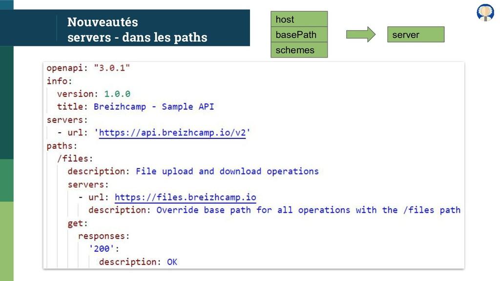 Nouveautés servers - dans les paths host basePa...