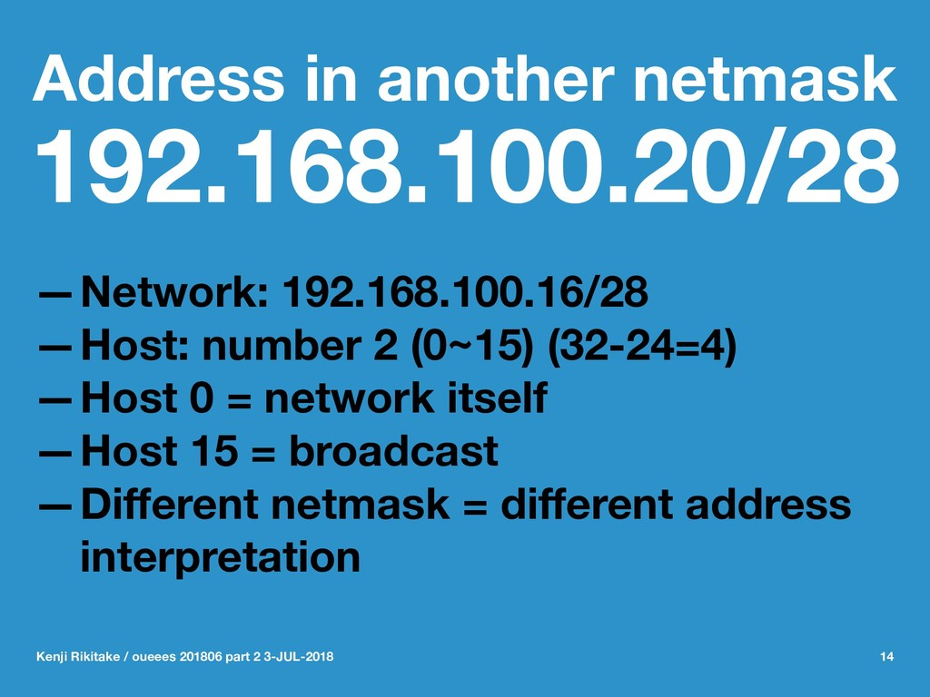 Address in another netmask 192.168.100.20/28 —N...