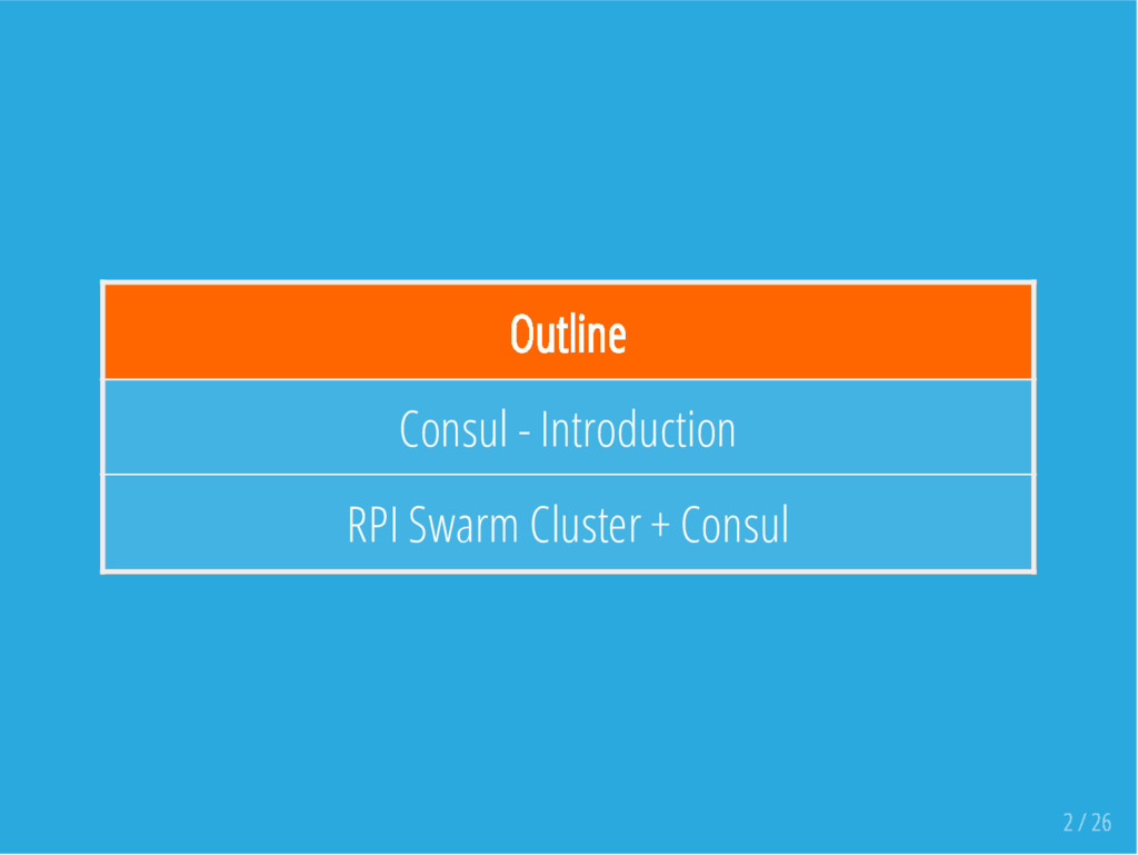 Outline Consul - Introduction RPI Swarm Cluster...