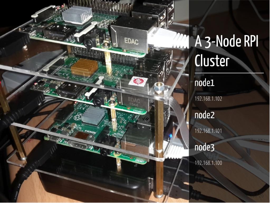 10 / 26 A 3-Node RPI Cluster node1 192.168.1.10...