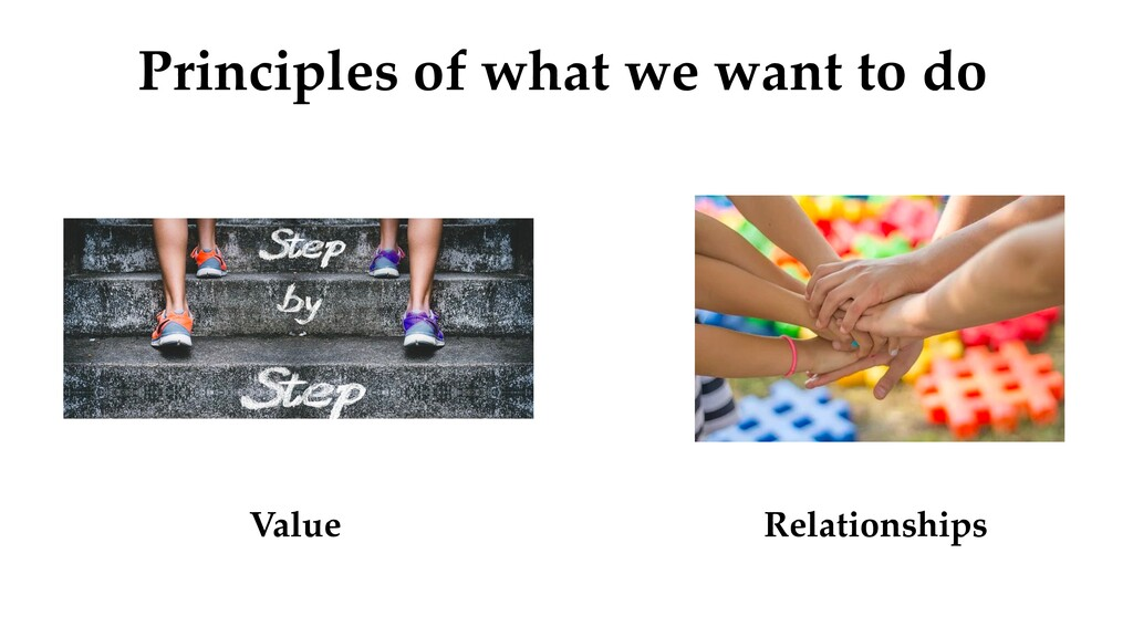 Value Principles of what we want to do Relation...