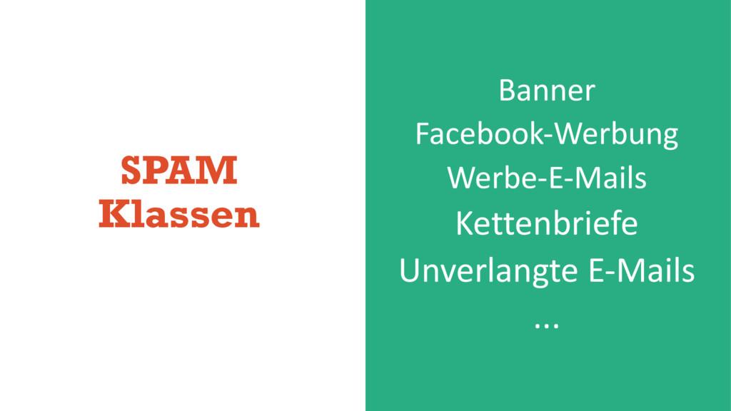 SPAM Klassen Banner Facebook-Werbung Werbe-E-Ma...