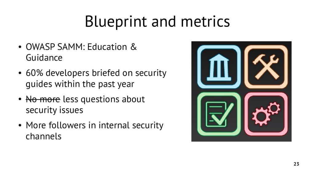 23 Blueprint and metrics ● OWASP SAMM: Educatio...