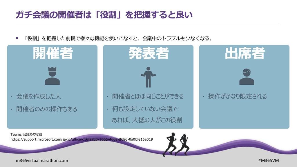 m365virtualmarathon.com #M365VM ▪ 「役割」を把握した前提で様...
