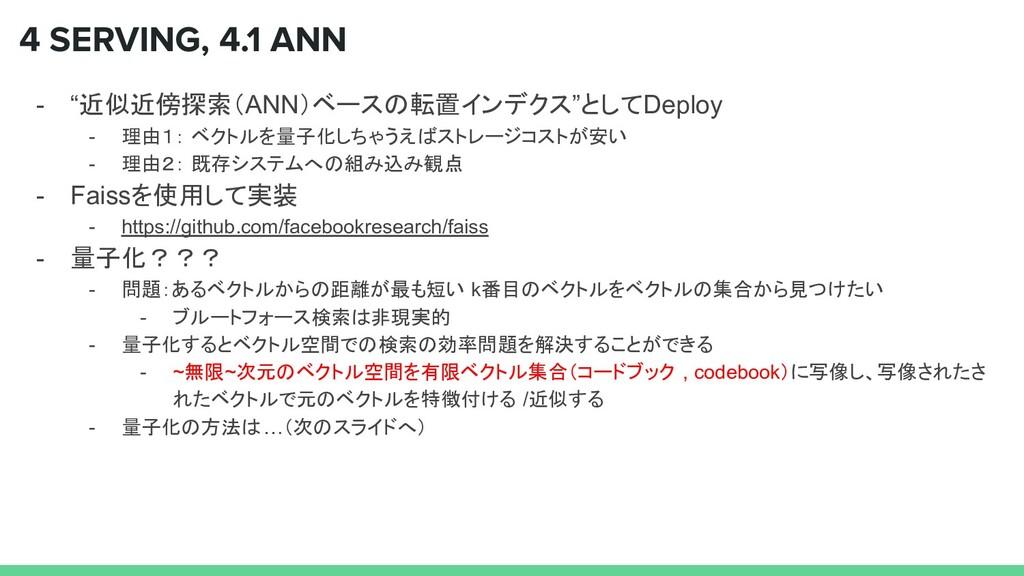 "4 SERVING, 4.1 ANN - ""近似近傍探索(ANN)ベースの転置インデクス""とし..."