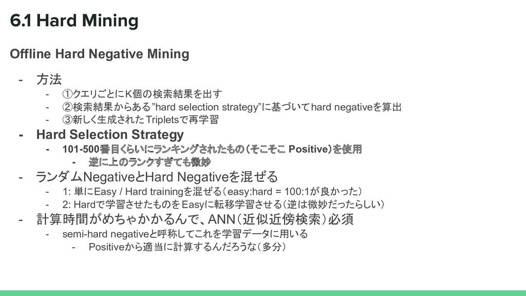 Offline Hard Negative Mining - 方法 - ①クエリごとにK個の検...