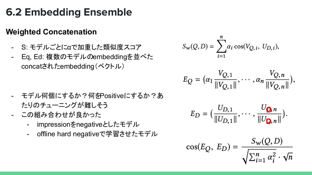 Weighted Concatenation - S: モデルごとにαで加重した類似度スコア ...