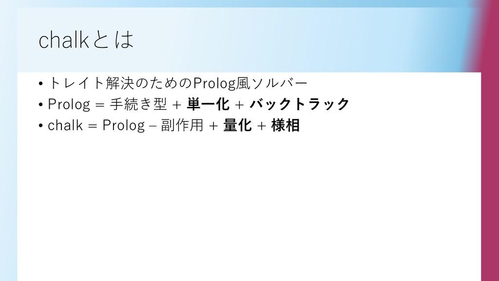 chalkとは • トレイト解決のためのProlog風ソルバー • Prolog = 手続き型...