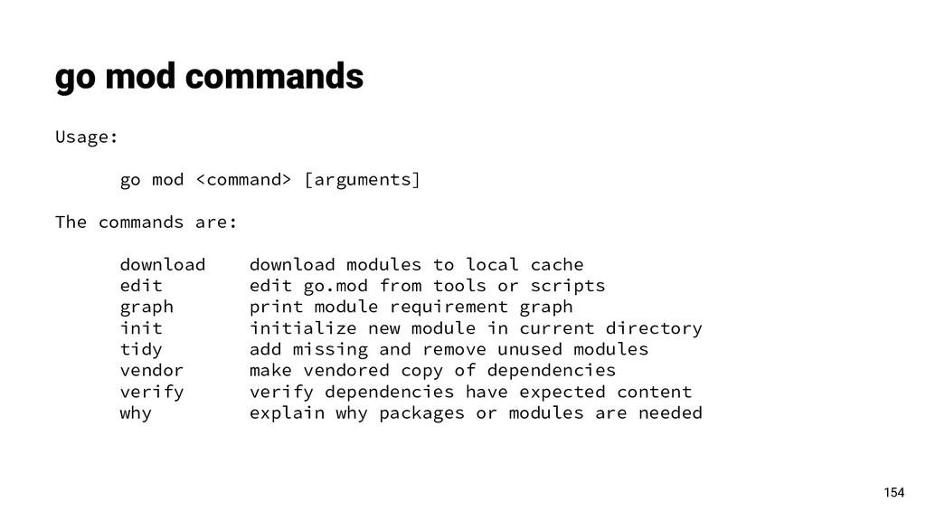 go mod commands 154 Usage: go mod <command> [ar...