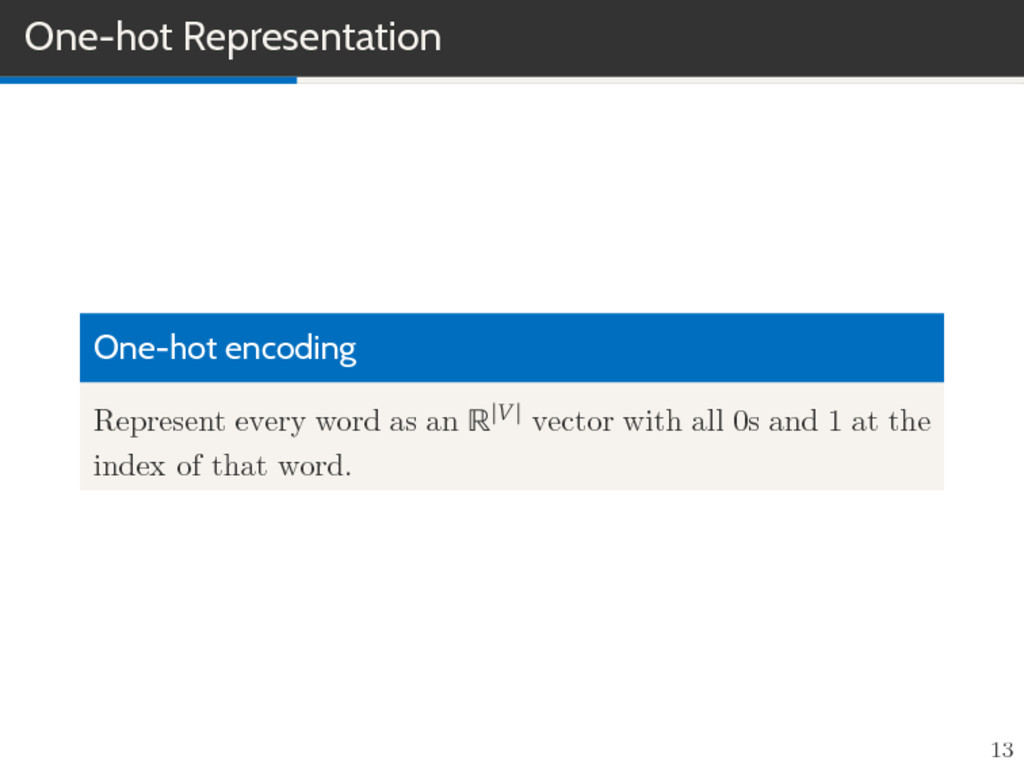 One-hot Representation One-hot encoding Represe...