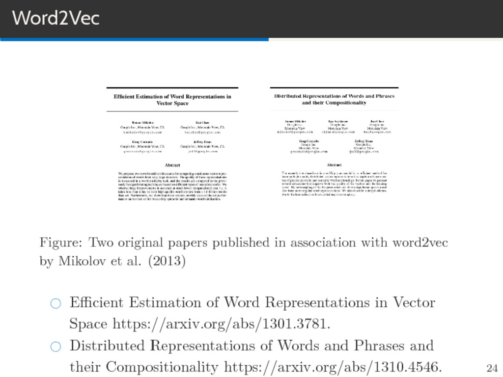 Word2Vec Figure: Two original papers published ...