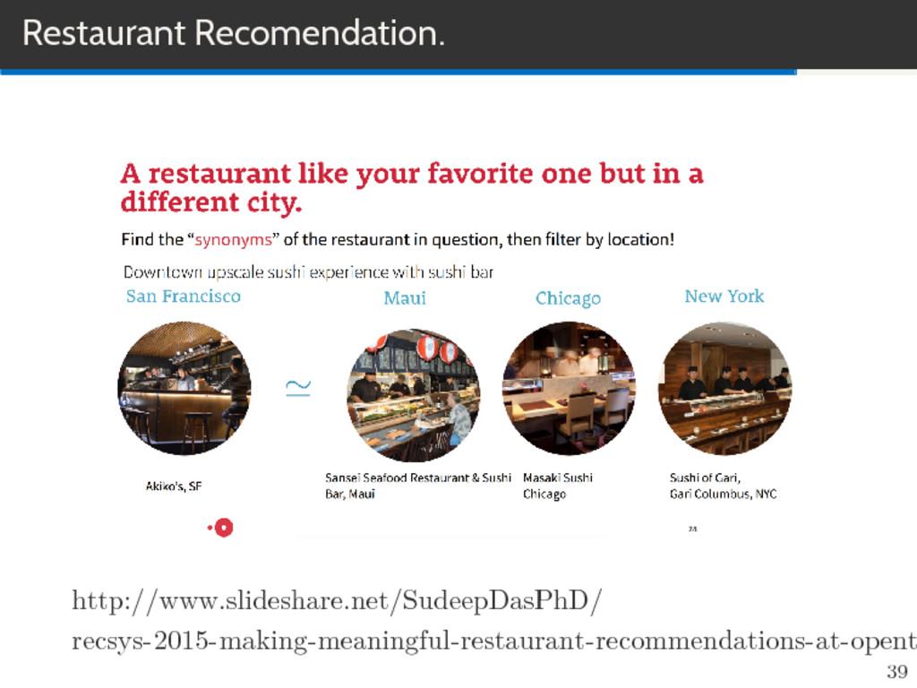 Restaurant Recomendation. http://www.slideshare...