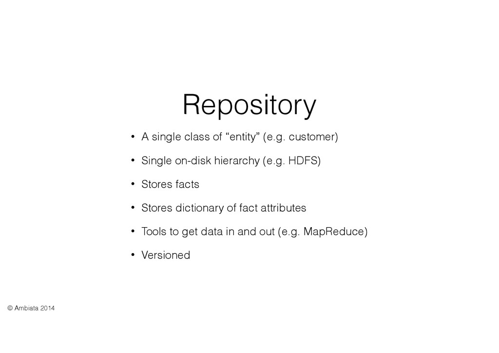 "Repository • A single class of ""entity"" (e.g. c..."