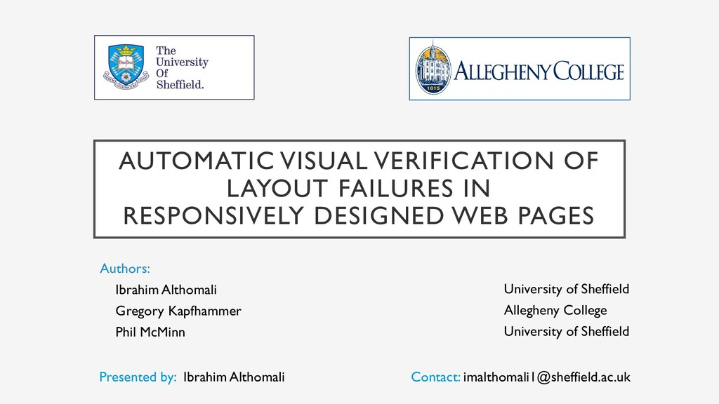 AUTOMATIC VISUAL VERIFICATION OF LAYOUT FAILURE...