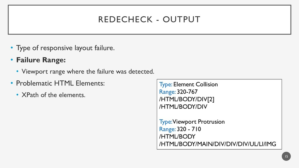 REDECHECK - OUTPUT • Type of responsive layout ...