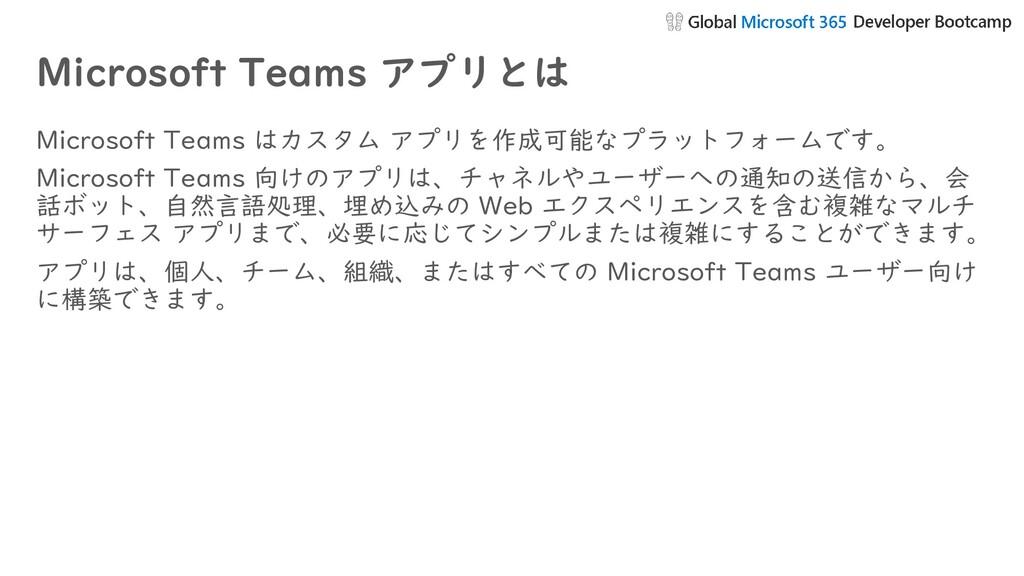 Microsoft Teams アプリとは Microsoft Teams はカスタム アプリ...