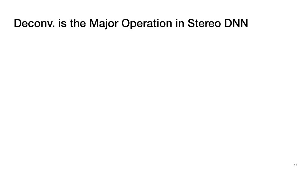 Deconv. is the Major Operation in Stereo DNN 14