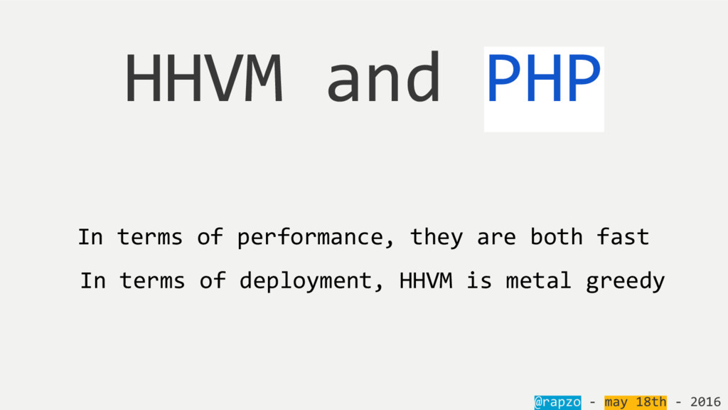 @rapzo - may 18th - 2016 HHVM and PHP In terms ...