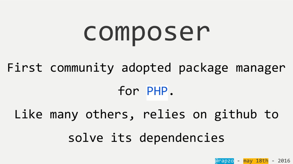 First community adopted package manager for PHP...