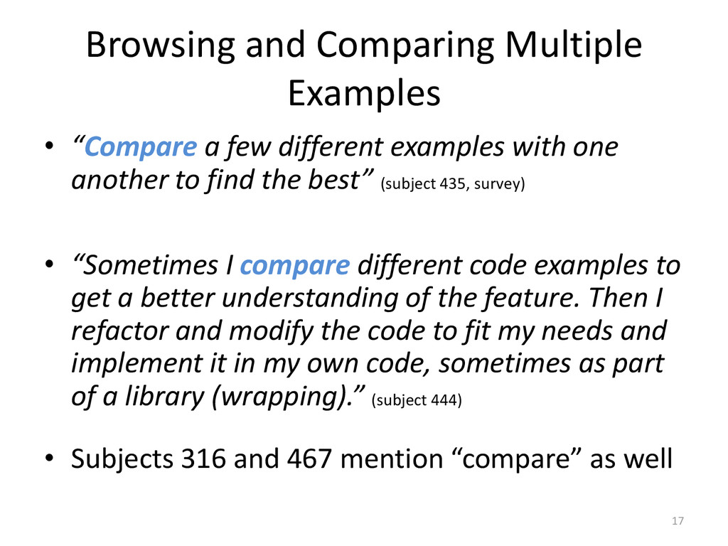 "Browsing and Comparing Multiple Examples • ""Com..."