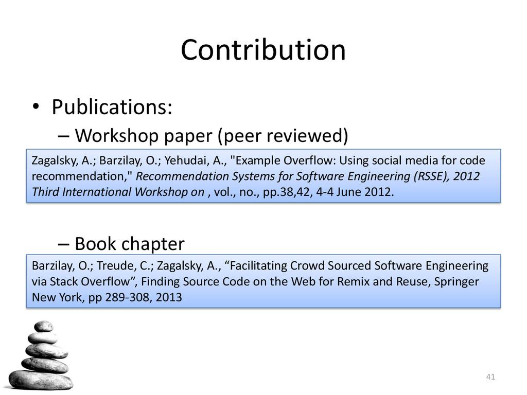 Contribution • Publications: – Workshop paper (...