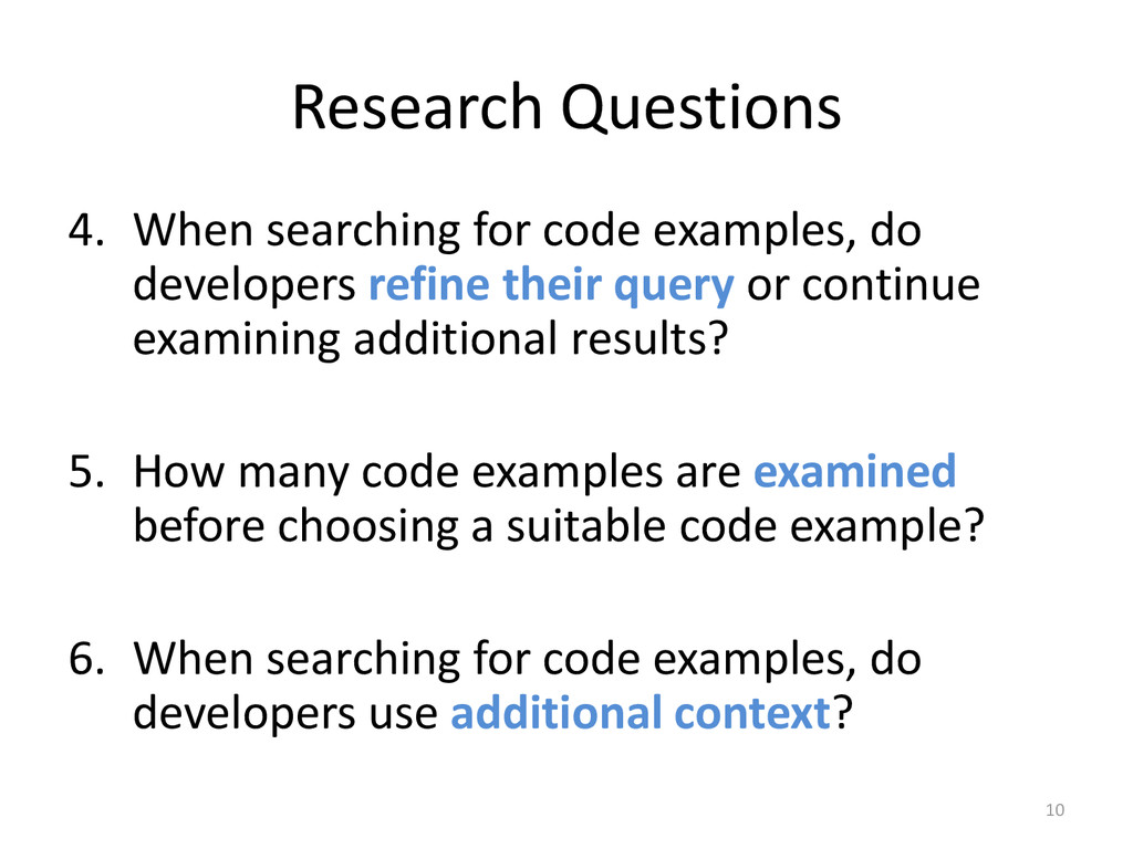 Research Questions 4. When searching for code e...