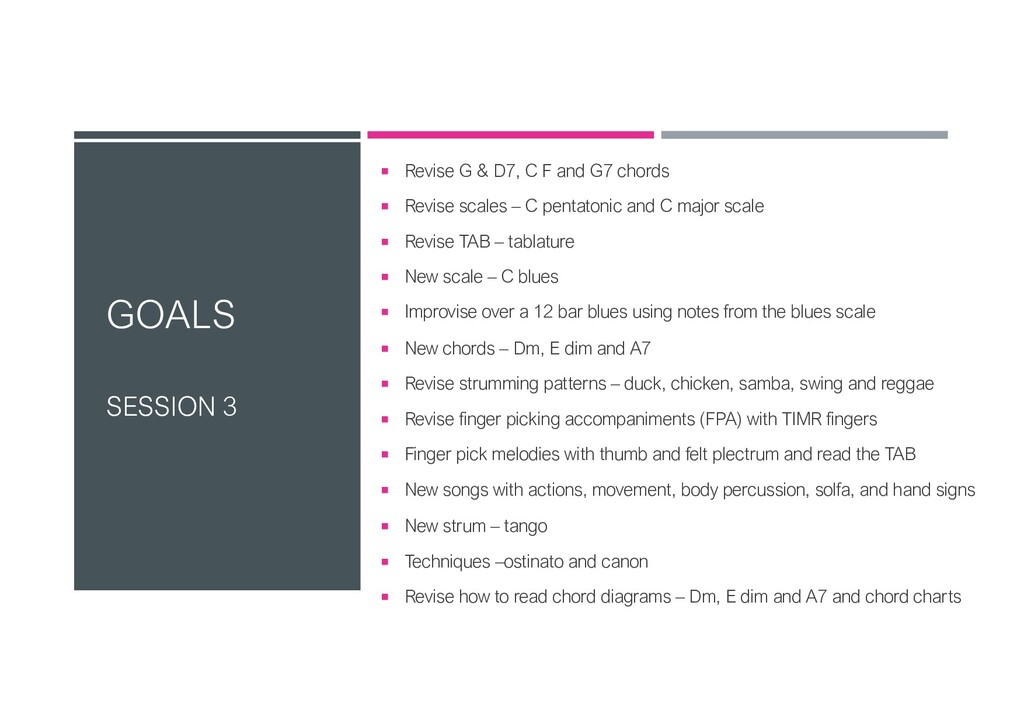 GOALS SESSION 3 ¡ Revise G & D7, C F and G7 cho...