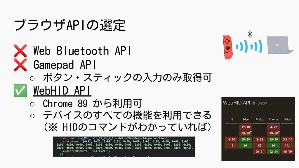 ❌ Web Bluetooth API ❌ Gamepad API ○ ボタン・スティックの入...