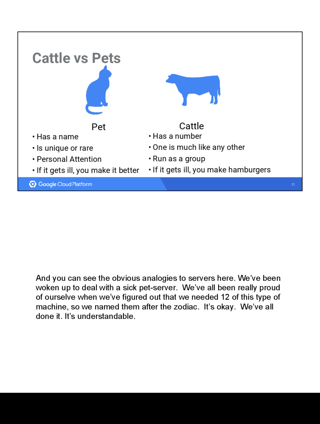 21 Cattle vs Pets Cattle • Has a number • One i...